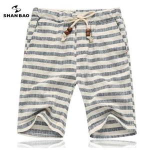 SHAN BAO marcas homens calções de verão estilo de moda e confortável respirável listra de Algodão lazer calções de praia dos homens