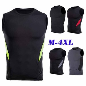 Men's sleeveless T-shirt vest quick-drying stretch tights Workout clothes size M-4XL motion multicolor models Tank top stitching