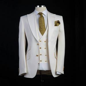 Klasik tarzı Damat smokin Büyük Pesked Yaka Sağdıç Suit Beyaz Blazer Düğün takım elbise Özel Made Man Suit Jacket + pantolon + yelek olarak