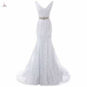 Bridal Wedding Gown Real Photos White Lace Cheap Mermaid Wedding Dress Train 2018 Vintage Sash vestido De noiva 2018