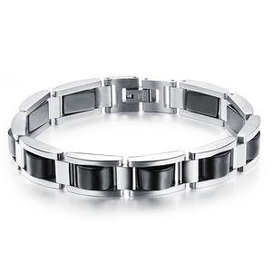 Paslanmaz Çelik Moda Charm Bilezikler Erkek Sağlık-Bakım Hematit Bilezikler Siyah Manyetit Trendy Mücevher .OB751 için