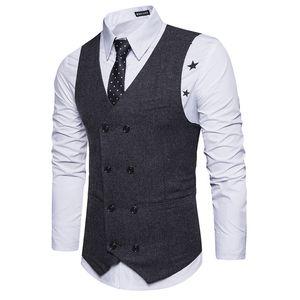 Chaleco de traje de lana cruzado para hombres de moda Chaleco de lana sin mangas nuevo Chaleco para hombre Chalecos de negocios de boda Slim Fit al por mayor