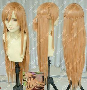 Nueva espada Art Online Asuna Yuuki trenza Cosplay peluca A5