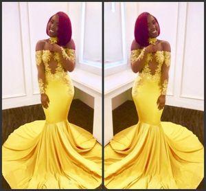 2019 nuevo envío gratis Yellow Mermaid Black Girls vestidos de baile por encargo Sheer mangas largas apliques de satén vestidos de noche fuera de los hombros