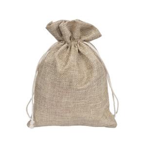 "Bolsas de arpillera de lazo natural de 50 piezas Bolsas de joyería Bolsas de joyería de 4x6 ""(10x15cm) Bolsas de lino de arpillera de yute para el banquete de boda Favor de Navidad"