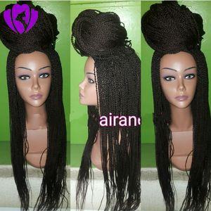 """10-30inches"""" Black parrucca anteriore del pizzo dei capelli di torsione per le donne sintetica termoresistente lungo intrecciato le parrucche glueless mano legata"""