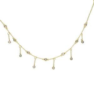 100% 925 sterling silver cz station gargantilla collar borla cz drop charm mujeres elegantes muchacha nupcial regalo de boda joyería fina