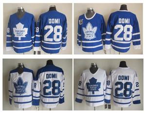 Alta qualità ! Maglie da baseball MCM Uomo Maple Leafs Hockey # 28 Tie Domi Jersey Vintage Authentic Stitched Maglie Ordine della miscela!