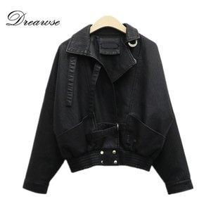 Dreawse donna giacca corta era sottile stile BF Moto PU pelle allentata manica lunga selvaggio Mujer Jaqueta Chaqueta marea MZ2970