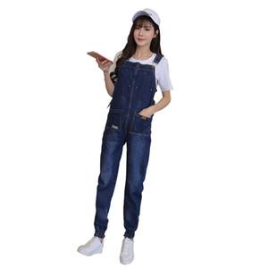 Tute di maternità di jeans denim salopette di jogger casual pantaloni casual per le donne incinte camici jeans gravidanza allentata