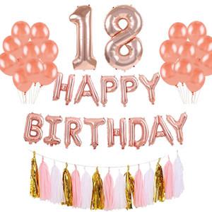 42pcs 생일 축하 배너 호 일 풍선 18 21 30 40 50 60years 오래 된 번호 풍선 편지 생일 파티 장식 성인 세트