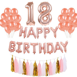 42pcs 생일 축하 배너 호일 풍선 18 21 30 40 50 60Years Old Number Balloon Letter 생일 파티 장식 성인 용품