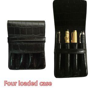 Krokodil-Haut exquisite Carving Stift Tasche UND BRUNNEN HIGH QUALITY LUXURY PENS Fall Halter für 4 PEN 2pcs / lot