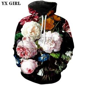 YX MENINA 2018 outono Nova Moda Das Mulheres Dos Homens hoodies Rose / peônia flores 3d Impressão casual Com Capuz camisola transporte da gota