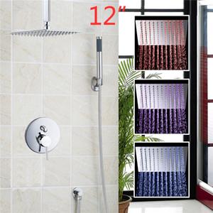 """YANKSMART Ensemble de douche encastré 3 couleurs LEDLED Square Rain 12 """"pomme de douche fixé au mur pulvérisateur caché ensemble"""