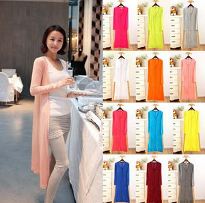 Cardigan Candy Color Outwear Mujer Chaquetas Abrigo de La Vendimia Modal Mantón Aire Acondicionado Tops Suéter Flojo Blusa Casual 12 Color OOA3924