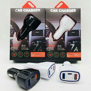 Qualität QC 3.0 Art C PD Autoladegerät 7A 35W Schnellladegerät 9v1.8A 12v1.8A 5v3.5A Reisenergieadapter Doppelhafen USB-Aufladeeinheit mit Paket