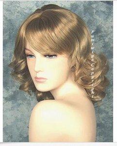 Fumi peruk İngiltere'den bal sarışın orta uzunlukta kıvırcık peruk