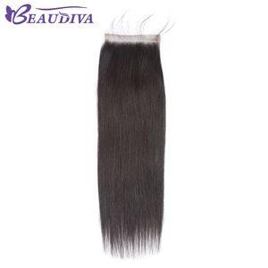 Brazilian Straight Hair 4x4 Lace Closure Free Part 100% Human Hair 8-20 inch Natural Color Virgin Hair Free Shipping