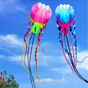 freies Verschiffen 20m großer weicher Drachenfliegenquallendrachen Nylon Ripstop Spielwarenspulenlinie Krake im Freien rosafarbener Windsock