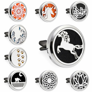 Jumping Horse Unicorn Paw Clouds 30mm Magnetic Essential Oil Aromatherapy Car Diffuser Locket Perfume Locket Vent Clip Random 10pcs Pads