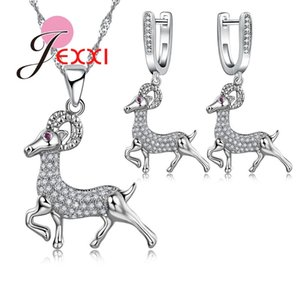 Fashion Animal Design 925 Sterling Silver Crystal Animal Antelope Pendant Necklace Earrings for Women Jewelry Sets
