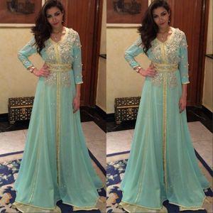 Sage Manga Comprida Vestido de Baile Dubai Árabe Kaftan Frisada Brilhante de cristal robe de soirée Vestidos de Baile Formal Vestidos de Noite
