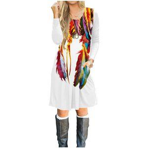 Nova chegada mulheres roupas de mangas compridas vestido mulheres macacões 100% algodão 3D impresso vestido, meninas fashionT-shirt saia padrão de pena