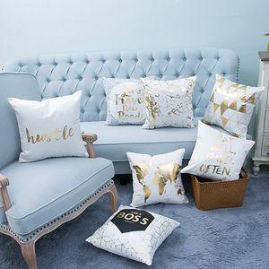 Or bronzante Oreiller Coussin Cases Couverture Bling Sequin Taie luxe géométrique coton Throw Taie Chambre Home Décor Bureau