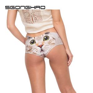 Haute Qualité Femmes Oreille Sous-Vêtements Grand Visage Chat 3D Impression Sexy Culotte Doux Culotte Doux Animal Imprimé Lingerie Mémoires