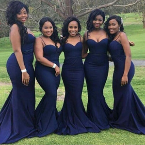 2018 African Dark Blue Mermaid Bridesmaid Dresses Sexy Spaghetti Straps Sweetheart Maid of Honor Gowns Satin Custom Made Wedding Guest Dress