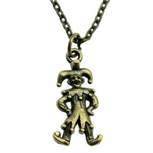 WYSIWYG 5 Pieces Metal Chain Necklaces Pendants Hand Made Necklace Men Clown Funny People Harlequin 24x12mm N2-A12695
