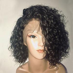130% 180% densité bouclés 360 Lace Front Perruques de cheveux humains avec des cheveux de bébé pré plumés 360 Lace Frontal Court cheveux humains Bob Perruques