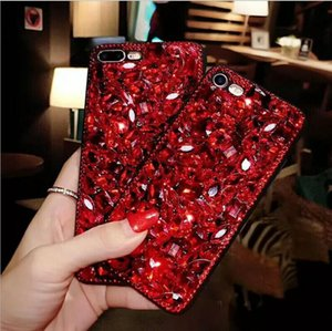2018 novo vermelho luxo diamante case strass tampa do telefone para iphone7 8 x cristal bling coque