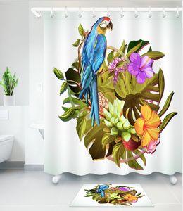 Прекрасный попугай птица розовый занавески для душа коврик набор фламинго для ванны экологическая комната ванны шторы водонепроницаемый переборки