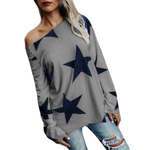 Camiseta de la estrella de manga larga del verano del otoño de las mujeres ocasionales camisetas de alta calidad más el tamaño de la camiseta femenina
