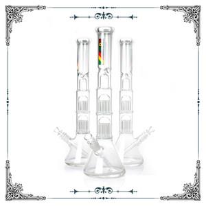 NEW Зоб стеклянного стакан Бонга Двойных 10 Arms Дерево перколатор затяжки 18 дюймов высота большого стеклянный бонг водопроводных труб для курительной трубы стекла бесплатную доставку