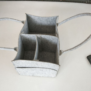 Bébé Sacs à langer bébé gris Diaper Sac en Portable Organisateur Voyage voiture Felt panier nouveau-né fille Boy couche de stockage C4244