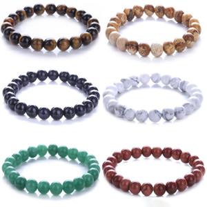 Mala Meditação Pulseira 8mm Mens Womens Natural Gemstone Beads Reiki Chakra Cura Cristal Semi Precioso Elastic Pulseira
