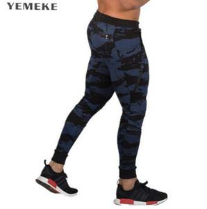 YEMEKE Sweatpants Homens sportswear Camuflagem Workout Musculação Roupas Casuais GINÁSIO Calças De Corrida De Fitness Calças Skinny