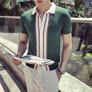 High Quality Shirt Men Summer British Style Slim Fit Casual Knitted Homme Short Sleeve Turn Down Collar Business s