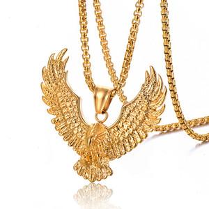 Rétro Eagle Hommes Collier 316L Acier inoxydable 18K Plaqué Or Plaqué Hommes Animal Hawk Aile Pendentif Bijoux