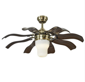 Vintage Ceiling Fan Led Ceiling Light with Remote Control for Living Room Dinning Room within 5inch & 10 inch Rod Bronze finish LLFA