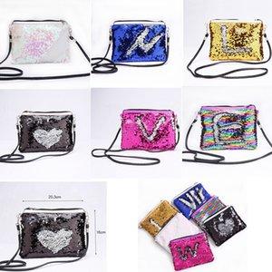 6 colori sirena paillettes busta borse a tracolla magia reversibile paillettes moneta portafoglio borsa da viaggio partito borse crossbody bag borse gga752