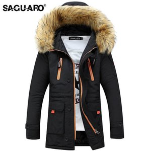 SAGUARO Winter Jacket Men 2018 Casual Warm Parka Men Fashion 분리 가능한 모피 Hooded 망 자켓 및 코트 Veste Homme Hiver