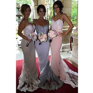 Hot Sale Spaghetti Straps Mermaid Long Bridesmaid Dresses Sweetheart Appliques Lace Beads Prom Dresses Evening Gowns