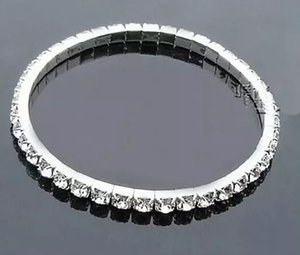 Cheap Silver Rhinestone 1 Row Stretch Bangle Junior Prom Homecoming Wedding Party Jewelry Bracelet In Stock Bridal Accessories