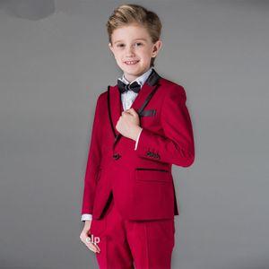 Vestito a tre pezzi del vestito rosso del ragazzo bello del vino (rivestimento + pantaloni + maglia) vestito convenzionale da cerimonia di graduazione del partito del ragazzo del vestito dalla ragazza di fiore di cerimonia nuziale
