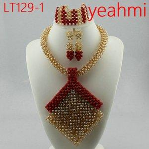 Splendid Nigeriano Casamento Beads Jewellry Set Gargantilha Colar Set Mulheres Africano Conjunto De Jóias De Noiva Banhado A Ouro Navio Livre LT129-2
