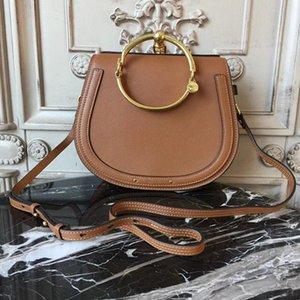2018 new Unique Design Women Bucket Handbag Retro Metal Ring Luster Lady Crossbody Bag Vintage Genuine Leather Shoulder Bag